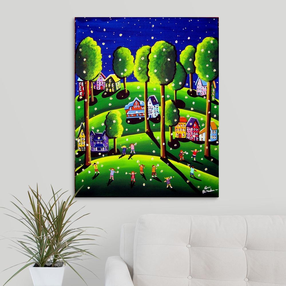 Greatbigcanvas 24 In X 30 In Kids Catch Fireflies By Renie