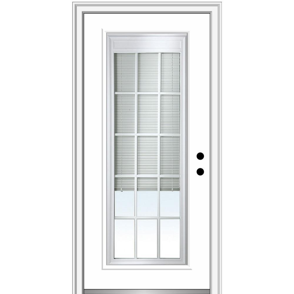 MMI Door 36 in. x 80 in. Internal Blinds/Grilles Left-Hand Inswing Full Lite Clear Primed Fiberglass Smooth Prehung Front Door
