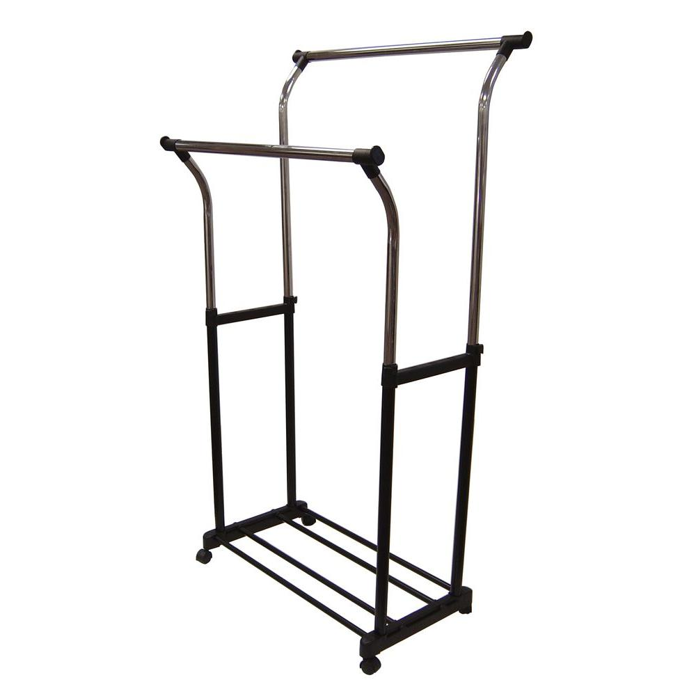 Neu Home 33.75 in. x 67 in. Double Adjustable Garment Rack, Black The Neu Home Double Garment Rack with Wheels provides 2 tiers to organize and hang your clothing with a shelf for shoe storage. The rack is made with a plastic frame and features wheels for simple use and portability. Color: Black.