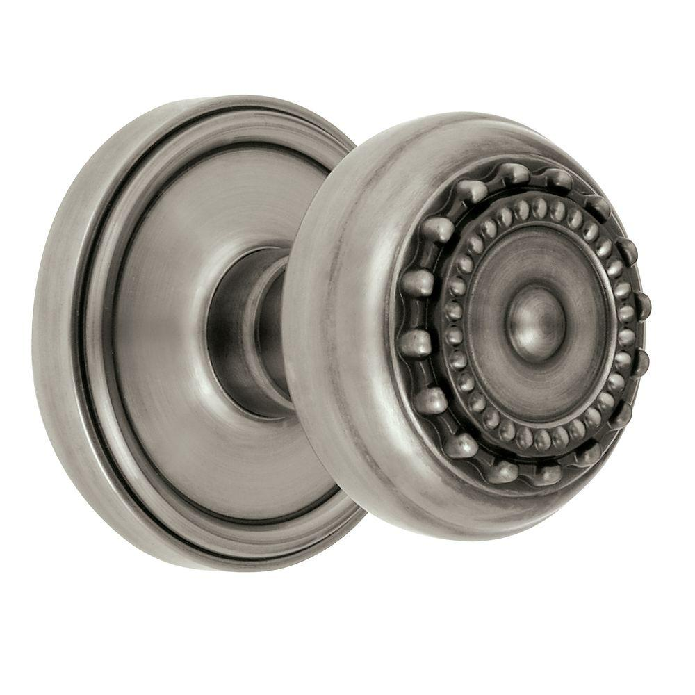 Grandeur Georgetown Rosette Antique Pewter with Privacy Parthenon Knob
