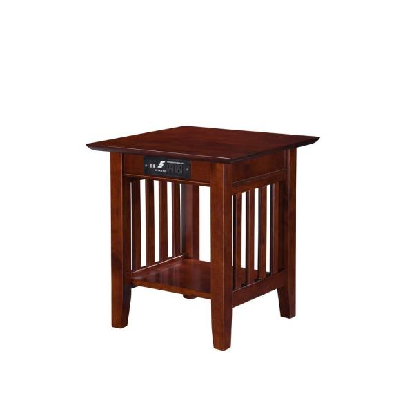 Atlantic Furniture Mission Walnut End Table with Charging Station