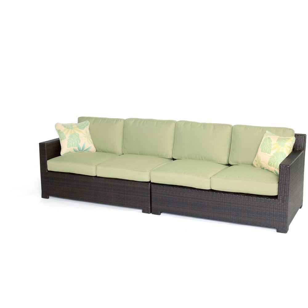 Brown Wicker Seating Set Green Cushi Metropolitan Furniture Sets