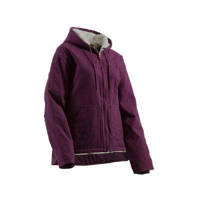 Women's Extra Large Plum Cotton Fine Sherpa Lined Washed Hooded Coat