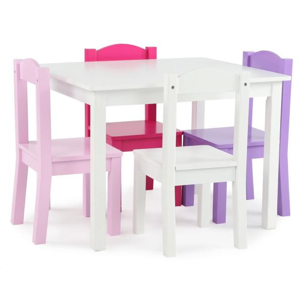 Tot Tutors Friends 5-Piece White/Pink/Purple Kids Table and Chair Set