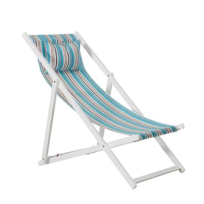 Balina White Wood Sling Folding Beach Chair with Cushioned Headrest
