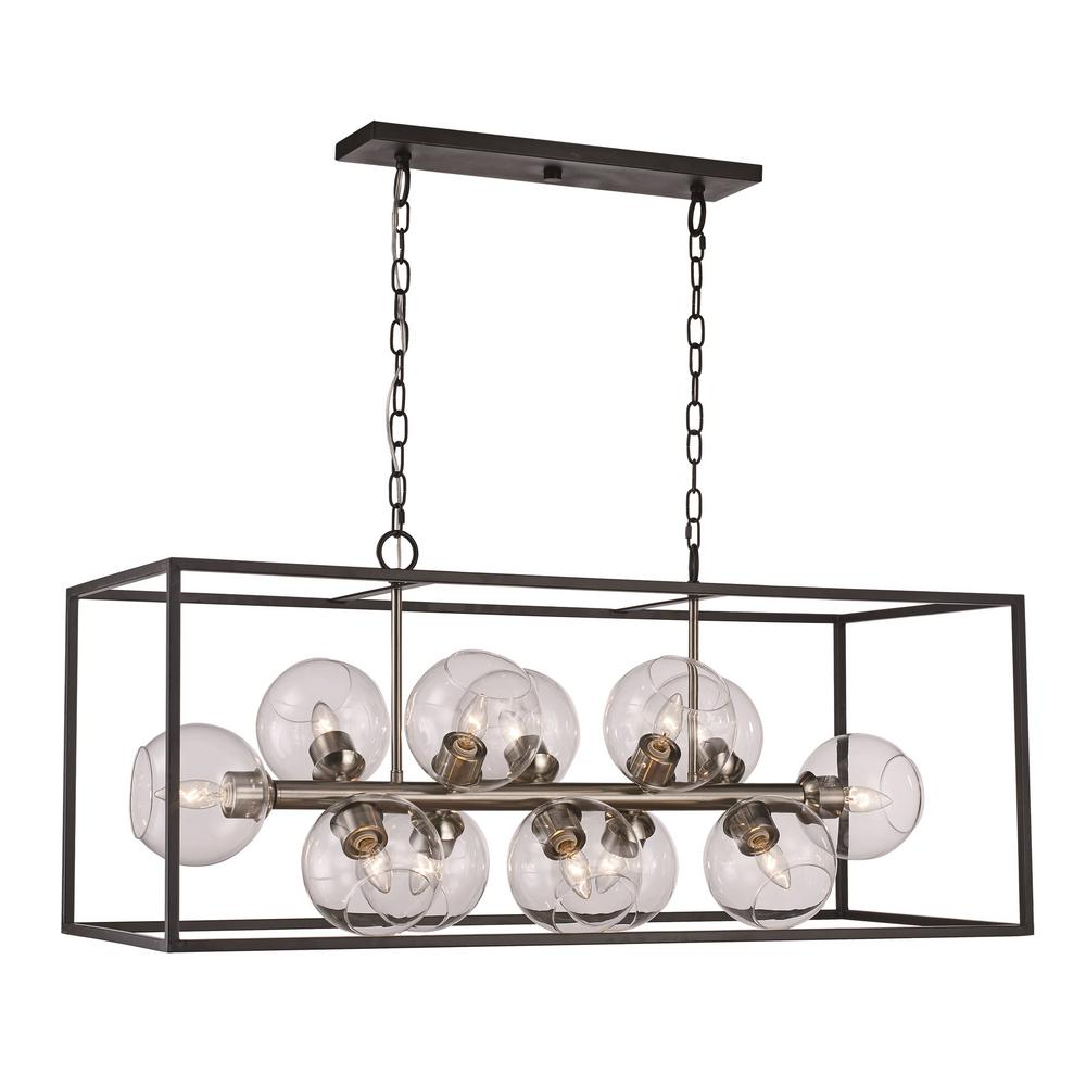 Bel Air Lighting 12-Light Black/Brushed Nickel Pendant
