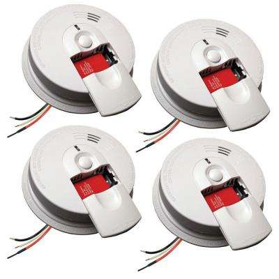 FireX Hardwire Smoke Detector with 9V Battery Backup and Front Load Battery Door (4-pack)
