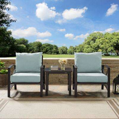 Kaplan 3-Piece Metal Outdoor Seating Set with Mist Cushions - 2 Chairs, Side Table