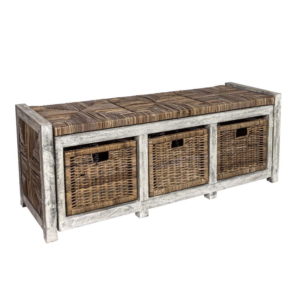 "Rustic 43.3"" 3 Drawer Wicker Storage Bench, Gray"