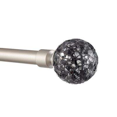 66 in. L - 120 in. L Adjustable 1 in. Curtain Rod Kit in Matte Silver with Black Pearl Mosaic Finial