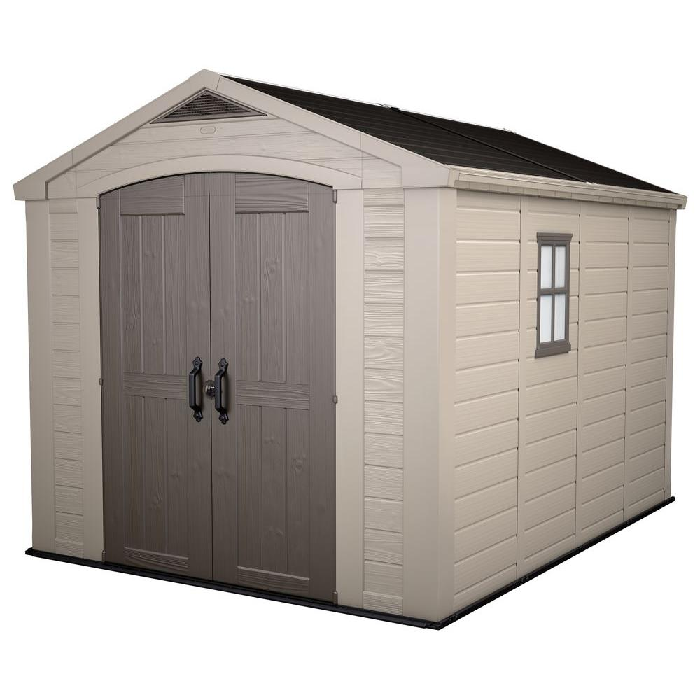 Keter factor 8 ft x 11 ft plastic outdoor storage shed for Outdoor tool shed