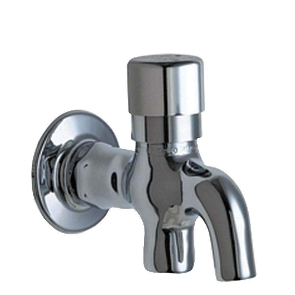 Chicago Faucets Wall Mount 1 Handle Glass Filler In Chrome With Integral  Push Button Handle