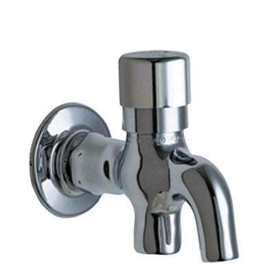 Wall Mount 1-Handle Glass Filler in Chrome with Integral Push Button Handle