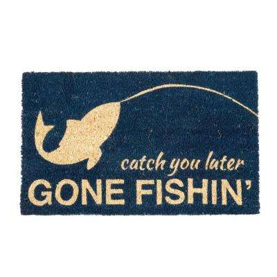 Gone Fishing 17 in. x 28 in. Non-Slip Coir Door Mat