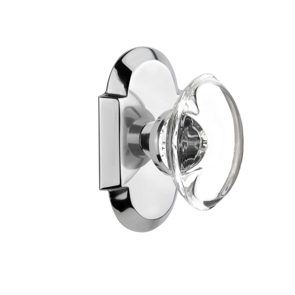 Bright Chrome Nostalgic Warehouse Cottage Plate with Oval Fluted Crystal Glass Door Knob Double Dummy