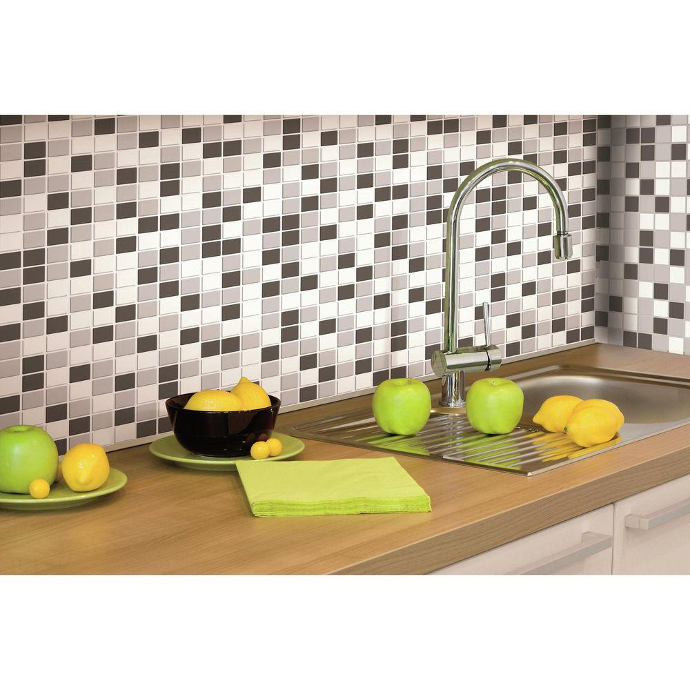 10.5 in. W x 10.5 in. H Black and White Mosaic