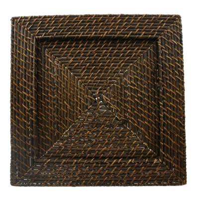 13 in. Brown Square Rattan Charger (Set of 4)