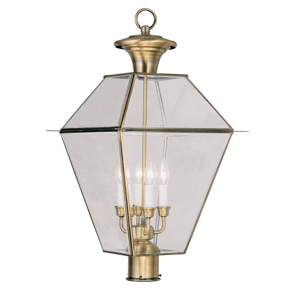 Livex Lighting Providence 4-Light 15.25 in. Antique Brass Outdoor Post Head Lantern