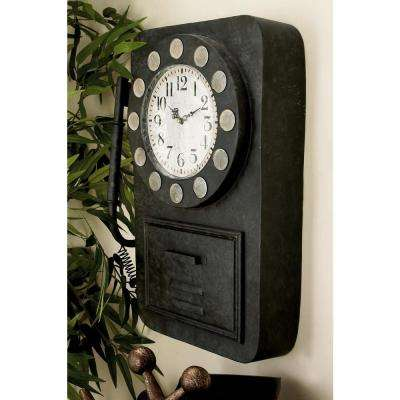 20 in. x 14 in. Vintage Telephone Wall Clock