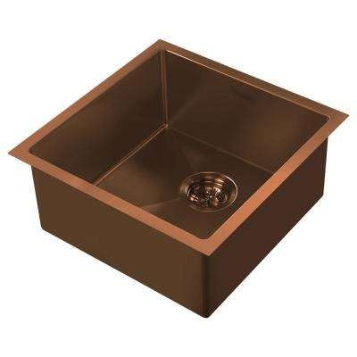 Noah Plus Dual Mount Stainless Steel 17-3/4 in. Single Bowl Kitchen Sink in Copper Sink Kit