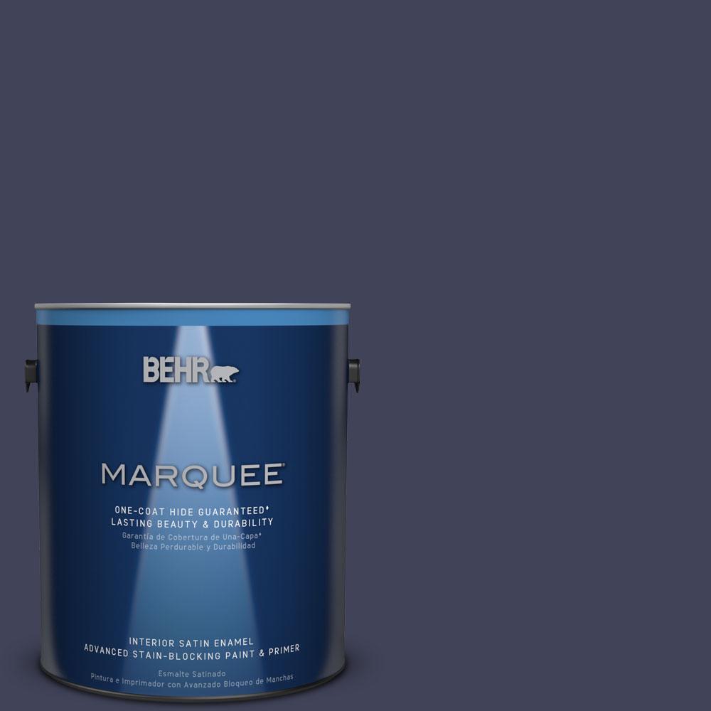 BEHR MARQUEE 1 gal. #MQ5-9 Manhattan Blue One-Coat Hide Satin Enamel Interior Paint