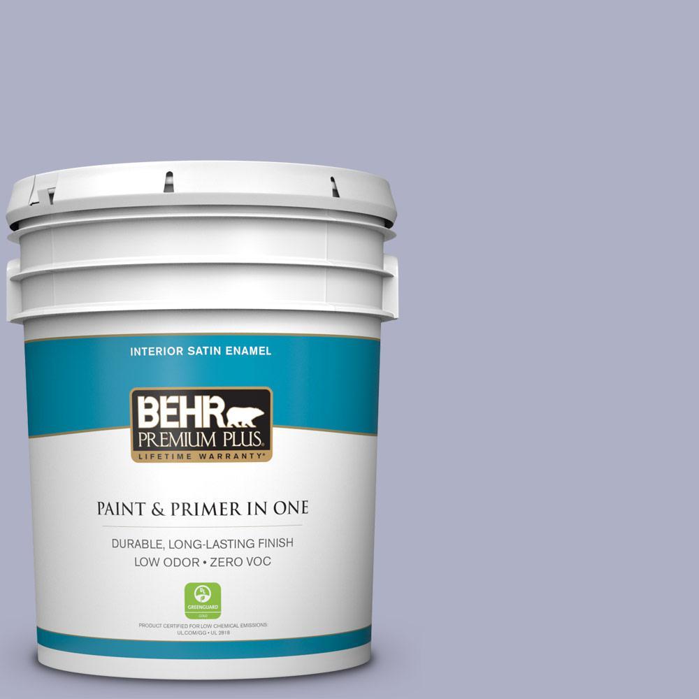 BEHR Premium Plus 5 gal. #S560-3 Noble Purple Satin Enamel Zero VOC Interior Paint and Primer in One