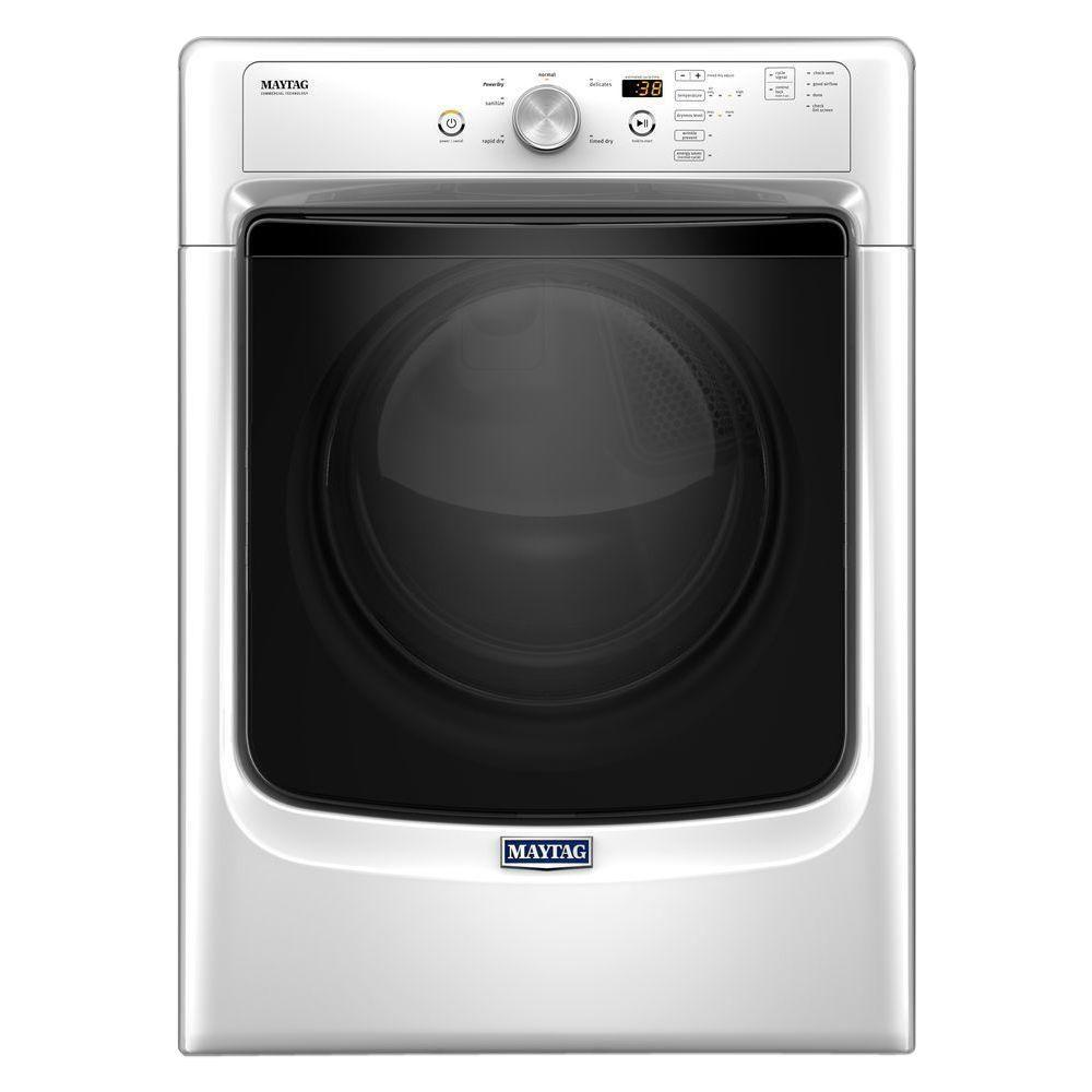 Maytag 7.4 cu. ft. 240 Volt Stackable White Electric Vented Dryer ...