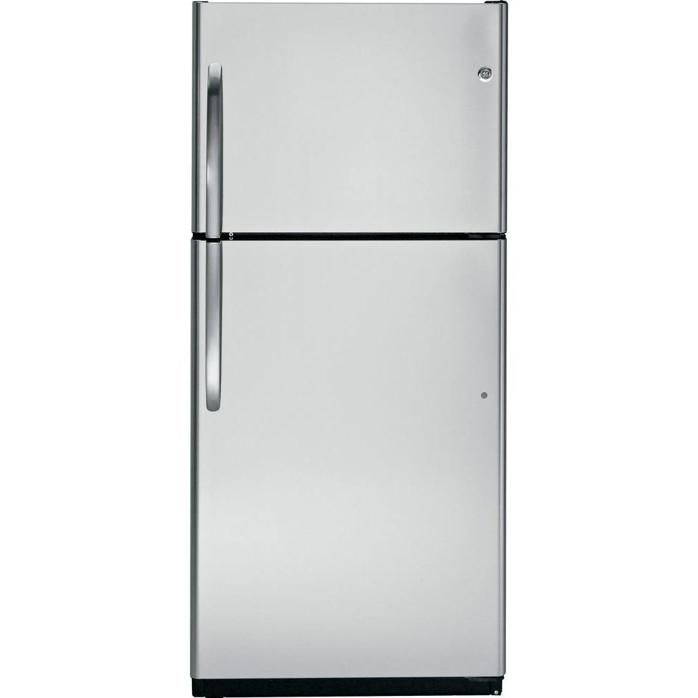 GE 18 cu. ft. Top Freezer Refrigerator in Stainless Steel