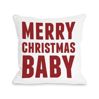 Bold Merry Christmas Baby 16 in. x 16 in. Decorative Pillow