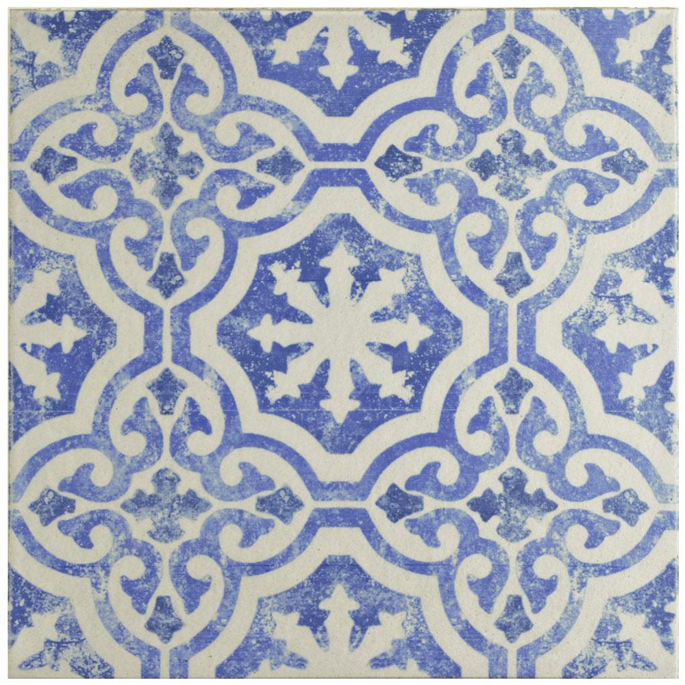 Merola Tile Klinker Alcazar Magnolia Encaustic 12-3/4 in. x 12-3/4 in. Ceramic Floor and Wall Quarry Tile