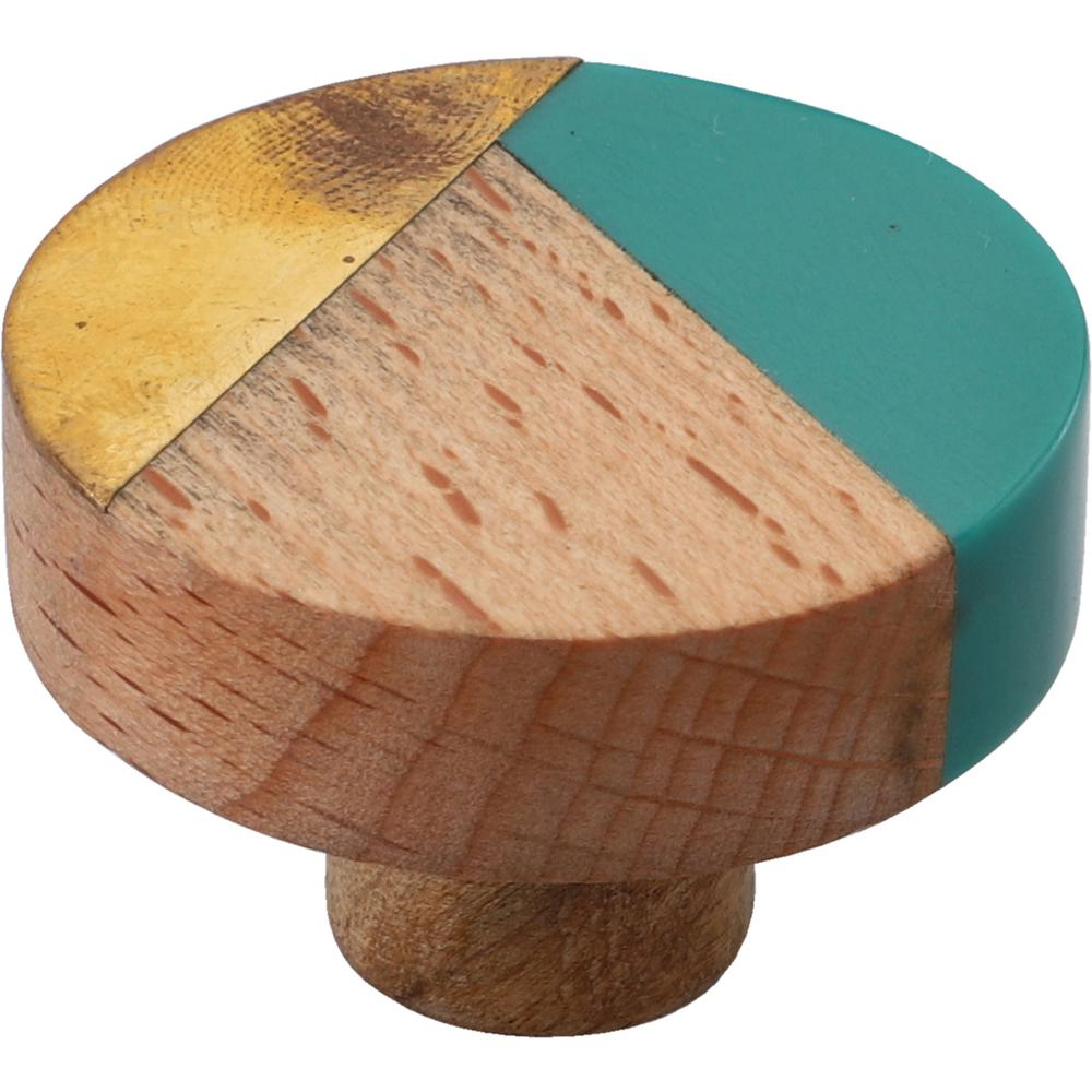 Mascot Hardware Temecula 1-1/2 in. Green and Wood Trio Cabinet Knob