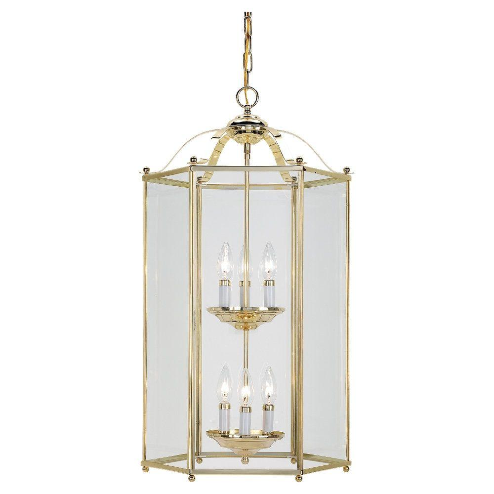 Sea Gull Lighting Bretton 6-Light Polished Brass Hall-Foyer Pendant