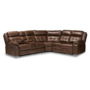 Vesa 6 pieces Brown and Black Fabric Sectional Sofas