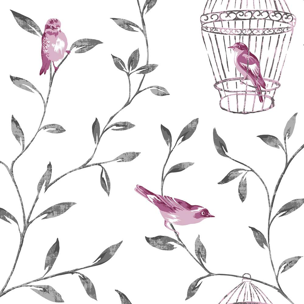 Hot Pink and Charcoal Birds and Cages Wallpaper