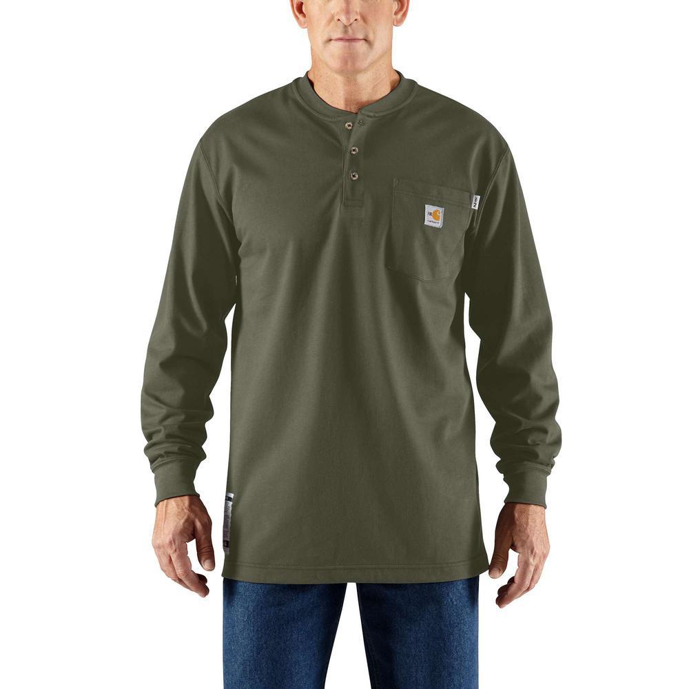 0e253e4f67a69f Carhartt Men's Tall Medium Moss FR Force Cotton Long Sleeve Henley ...