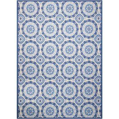 Solar Flair Navy 8 ft. x 11 ft. Indoor/Outdoor Area Rug