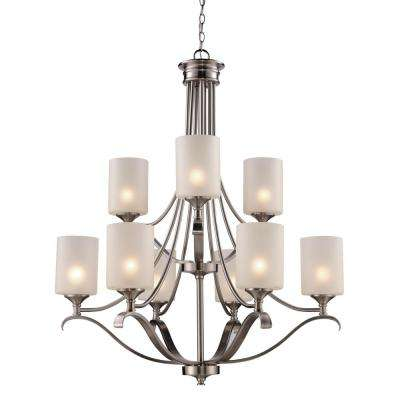 Ballard 9-Light Brushed Nickel Chandelier with Frosted Glass Shades