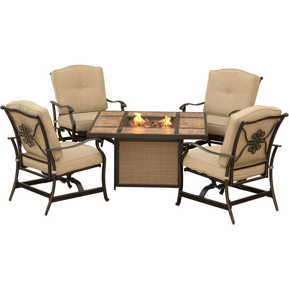 Beau Traditions 5 Piece Patio Fire Pit Lounge Set With Tile Top Fire Pit