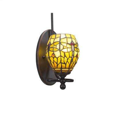 1-Light Dark Granite Sconce with Amber Dragonfly Tiffany-Style Glass