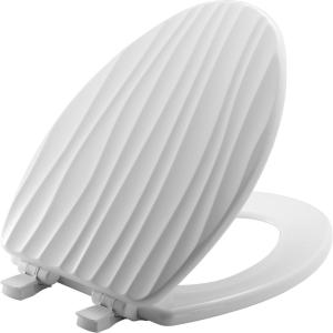 Bemis STA-TITE Slow Close Lift-Off Sculptured Elongated Closed Front Toilet Seat in White by BEMIS