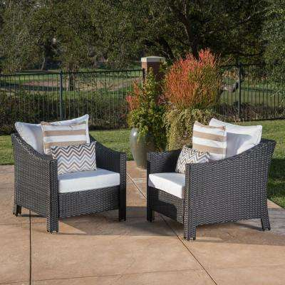 Black Iron-Framed Wicker Outdoor Lounge Chairs with White Cushion (2-Pack)