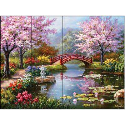 Japanese Garden 17 in. x 12-3/4 in. Ceramic Mural Wall Tile