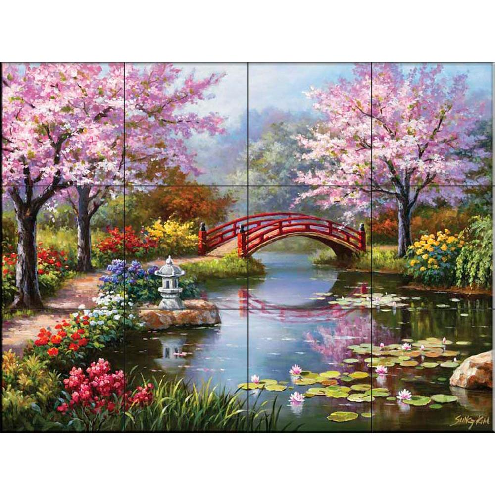 Genial The Tile Mural Store Japanese Garden 24 In. X 18 In. Ceramic Mural Wall