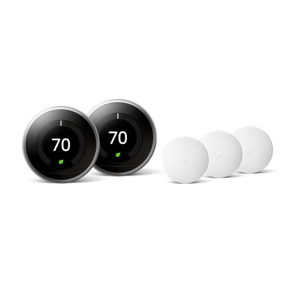 Nest Learning Thermostat 3rd Gen in Stainless Steel (2-Pack) and Google Nest Temperature Sensor (3-Pack)