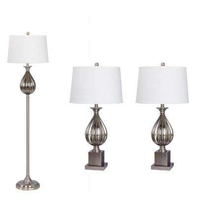 Brushed Steel Lamp Set (3-Piece)