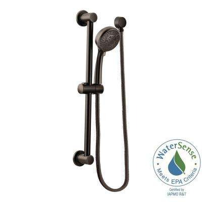 4-Spray 4 in. Eco-Performance Handheld Handshower with Slidebar in Oil Rubbed Bronze