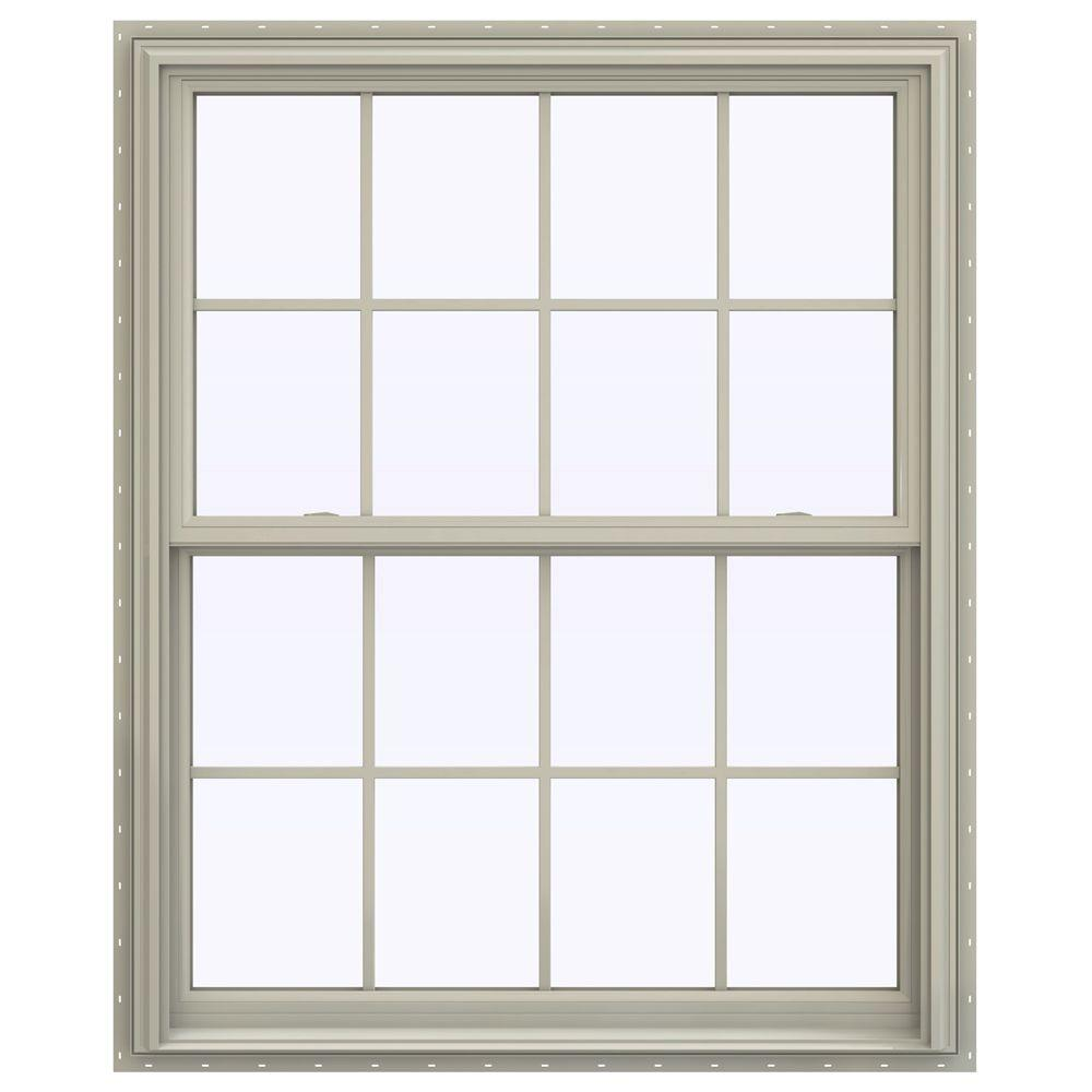 JELD-WEN 43.5 in. x 47.5 in. V-2500 Series Double Hung Vinyl Window with Grids - Tan