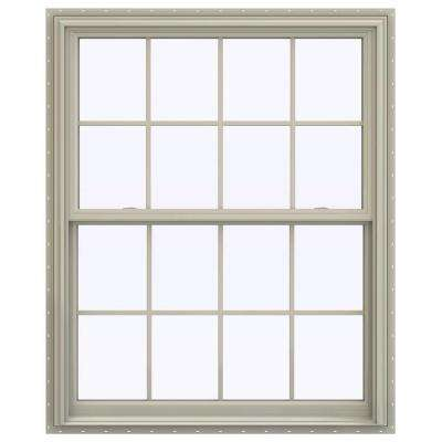 43.5 in. x 53.5 in. V-2500 Series Desert Sand Vinyl Double Hung Window with Colonial Grids/Grilles