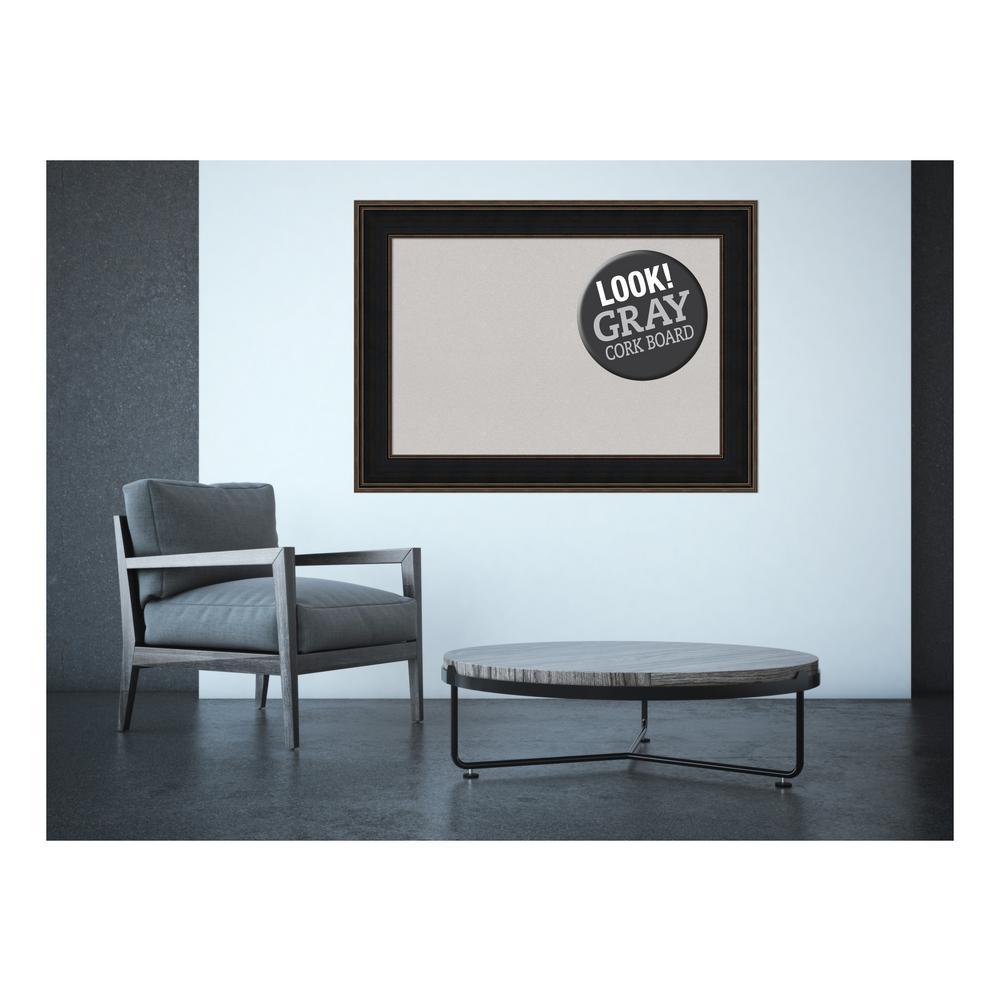 Mezzanine Espresso Wood 44 in. x 32 in. Framed Grey Cork Board