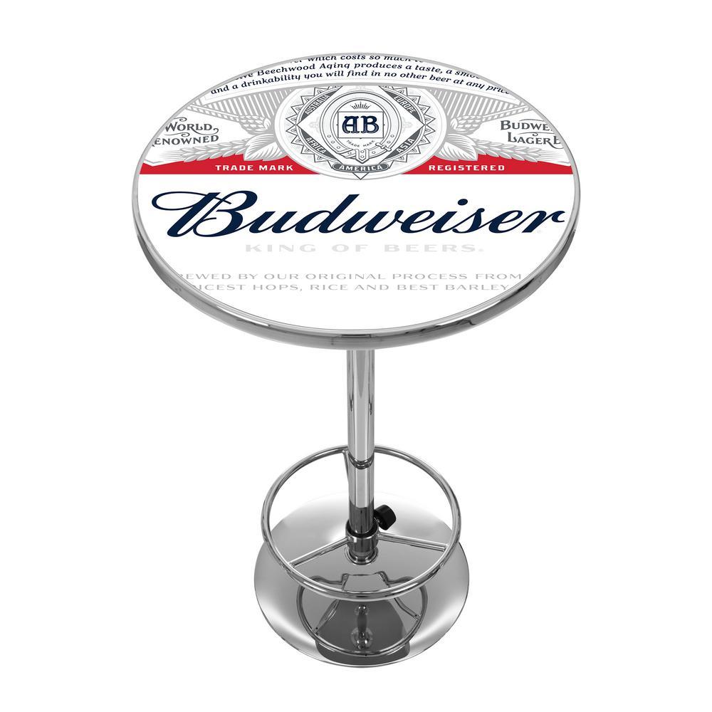Budweiser Label Design Chrome Pub/Bar Table
